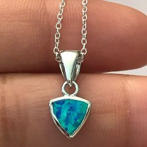 Jewelry - Sterling Silver Blue Opal Trillion Necklace